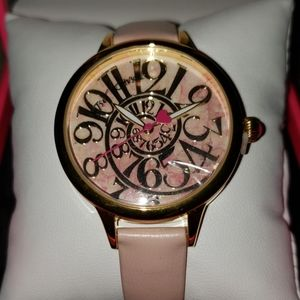 Betsey Johnson optical swirl pink marble watch